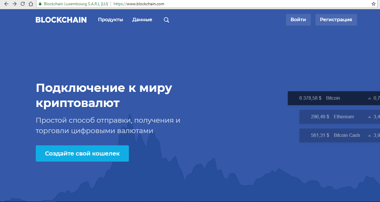 Главная страница Blockchain info