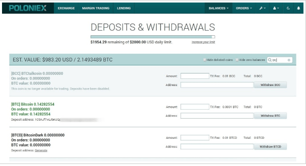 Poloniex Balances – Deposits & Withdrawals