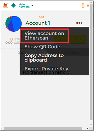 View accounbt on Etherscan